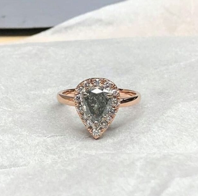 Salt and Pepper Pear Shaped Diamond Ring with diamond halo set in 18K Rose Gold