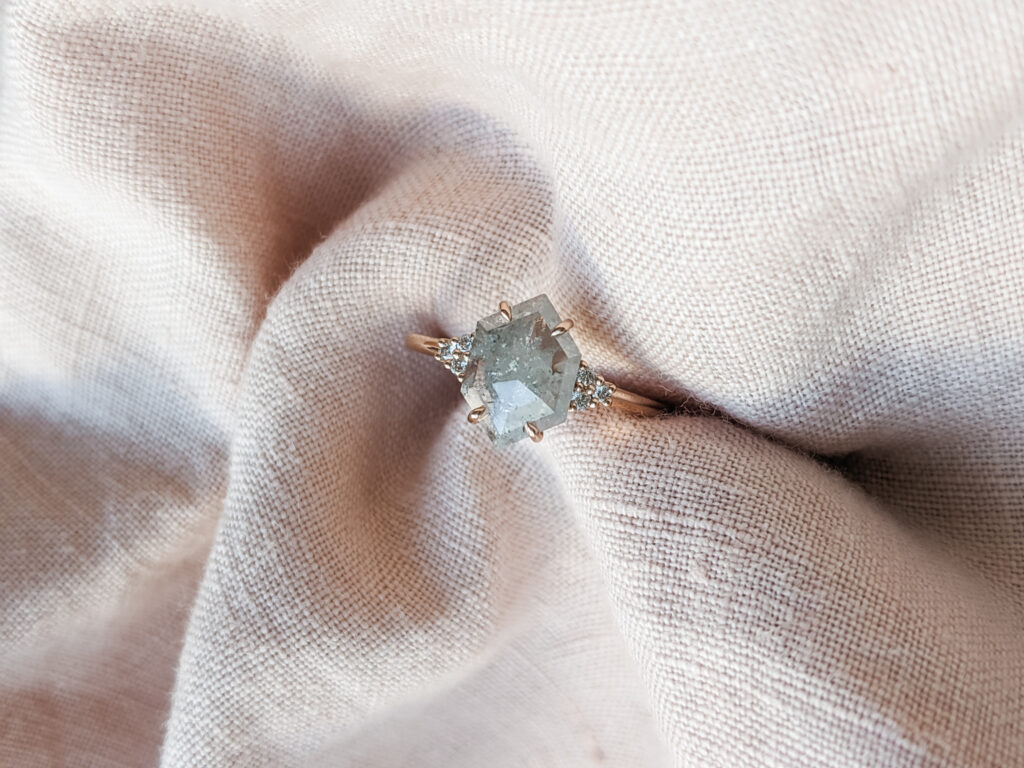 Salt and Pepper Grey Diamond and Rose Gold Engagement Ring