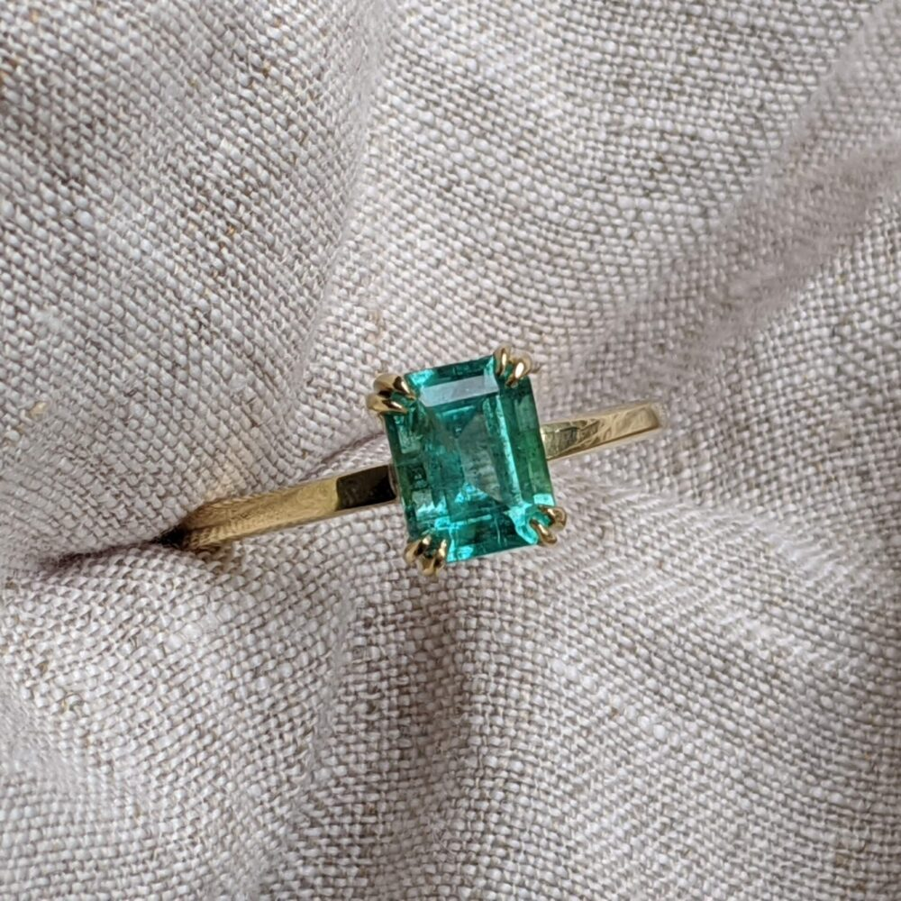 Emerald and Gold Engagement Ring