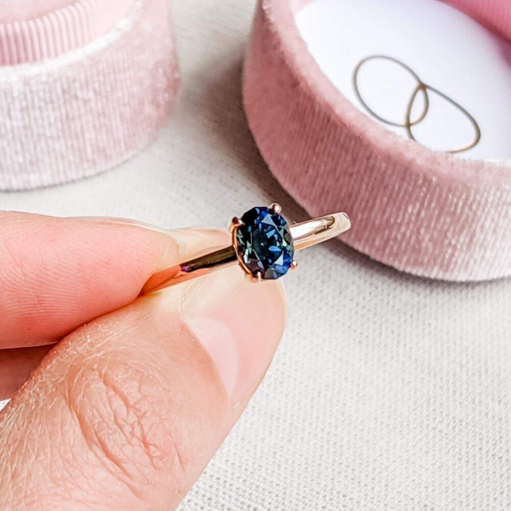 Aussie Dark Teal Sapphire Engagement Ring in 18k Rose Gold