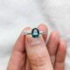 Oval Australian Parti Sapphire and 18k White Gold Engagement Ring with Diamond Pave Wedder