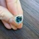 Pear Teal Sapphire with Floral Diamond Halo in White Gold Engagement Ring