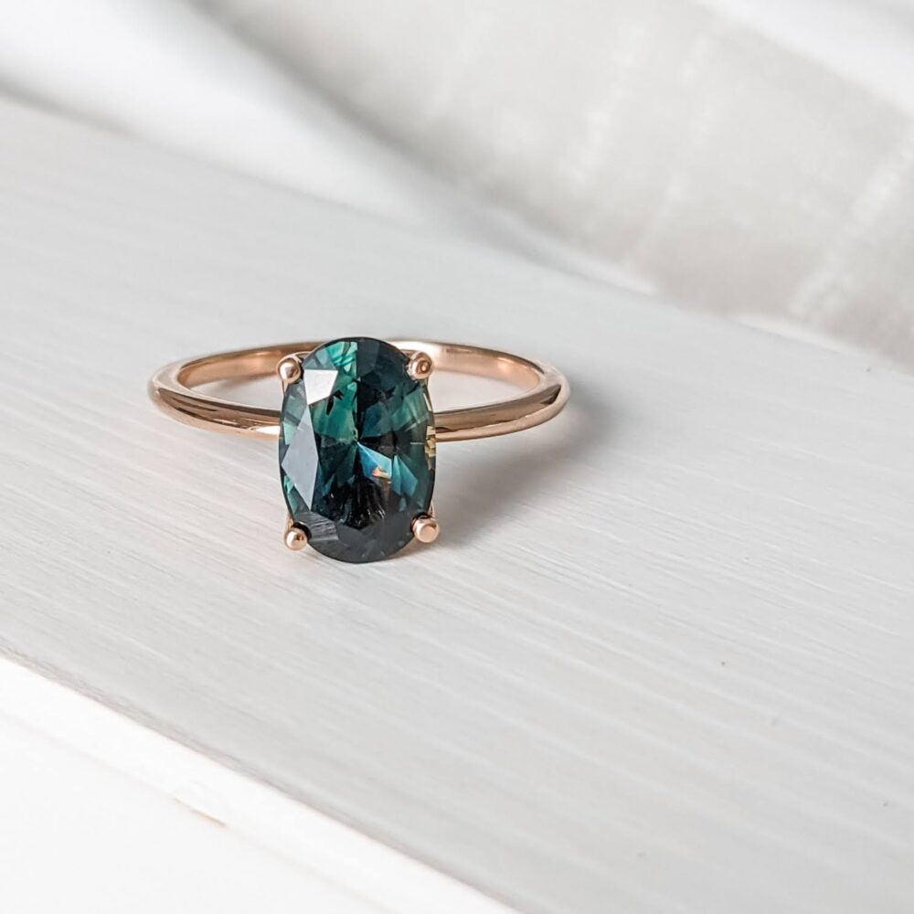 2.86ct Australian Parti Teal Sapphire and Rose Gold Tulip Setting Engagement Ring