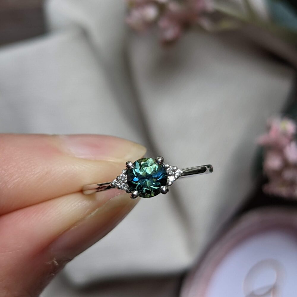 Australian Teal Parti Sapphire and Moissanite Engagement Ring